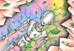 SF,Science fiction,Science fantasy,Imagination,Fantasy,Fantasy science,Pencil drawing,Colored pencil drawing,Analog illustration,Illustration,Art,Painting,Hand drawn illustrations,Robot,Android,Humanoid,Future,Future world,Artificial intelligence,Underground,Starting,Leaf,Restart