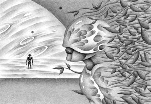 SF,Science fiction,Science fantasy,Imagination,Fantasy,Fantasy science,Pencil drawing,Colored pencil drawing,Analog illustration,Illustration,Art,Painting,Hand drawn illustrations,Robot,Plant,Android,Artificial intelligence,Lake,Ocean,Planet,Satellite,Heavenly bodies,Future world