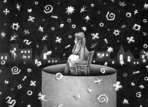 Imagination,Fantasy,Fairy tale,Fantastic,Strange,Fantasia,Pencil drawing,Colored pencil drawing,Analog illustration,Illustration,Art,Painting,Hand drawn illustrations,Snow,Snowfall,Night,Late night,Midnight,Silence,Quiet,City light,Window light,Distant view,City light,Town light