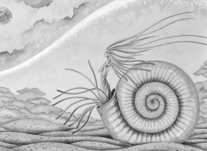 Imagination,Fantasy,Fairy tale,Fantastic,Strange,Fantasia,Pencil drawing,Colored pencil drawing,Analog illustration,Illustration,Art,Painting,Hand drawn illustrations,Fossil,Ammonite,Conch,Fairy,Spirit,Seafloor,Ancient times,Coral reef,In the sea,Ocean