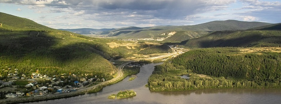image of the confluence of the Klondike and Yukon rivers