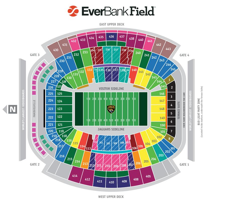 Everbank patlang mapa   Mapa ng everbank field  Florida   USA  Mapa ng everbank patlang