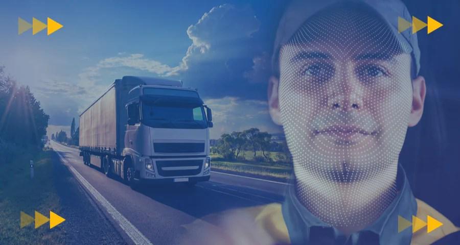 Un camión en la carretera y un conductor de camión.