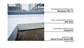 Najvhodnejšie riešenie pre investora Westend Gate sa ukázala skladba: Penetračný náter, hydroizolačný asfaltovaný pás, tepelná izolácia hrúbky 180 mm atermoplastická polyolefínová fólia.