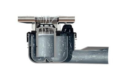 Patentovaná konštrukcia umožňuje obzvlášť nízku vstavanú výšku, pri súčasnom vysokom odtokovom výkone a spoľahlivej ochrane pred obťažujúcimi zápachmi zkanalizácie (Foto: Viega)