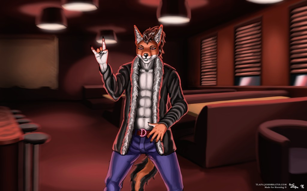 Digital painting of Horndog D, an anthropomorphic jackal preparing himself for a performance at a nightclub