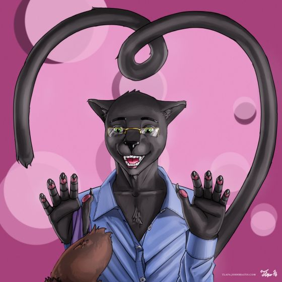 Digital painting of an anthropomorphic panther smiling in love, ready to pounce a stubby bear tail