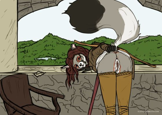Digital sketch of the vixen Marcella Gale bent over and presenting her buttocks upon a castle overlook