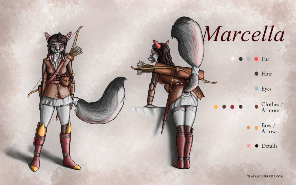 Digital character sheet of Marcella Gale, a grey fox courtesan and the protagonist of Diary of a Fox Slut