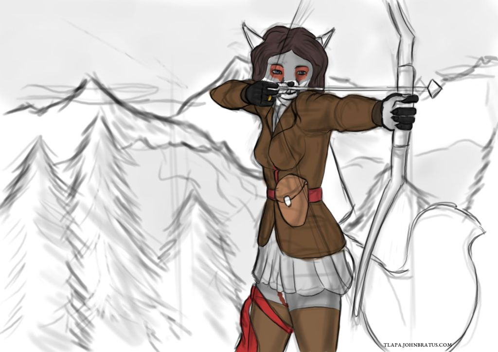 Digital sketch of the vixen Marcella Gale shooting from her bow