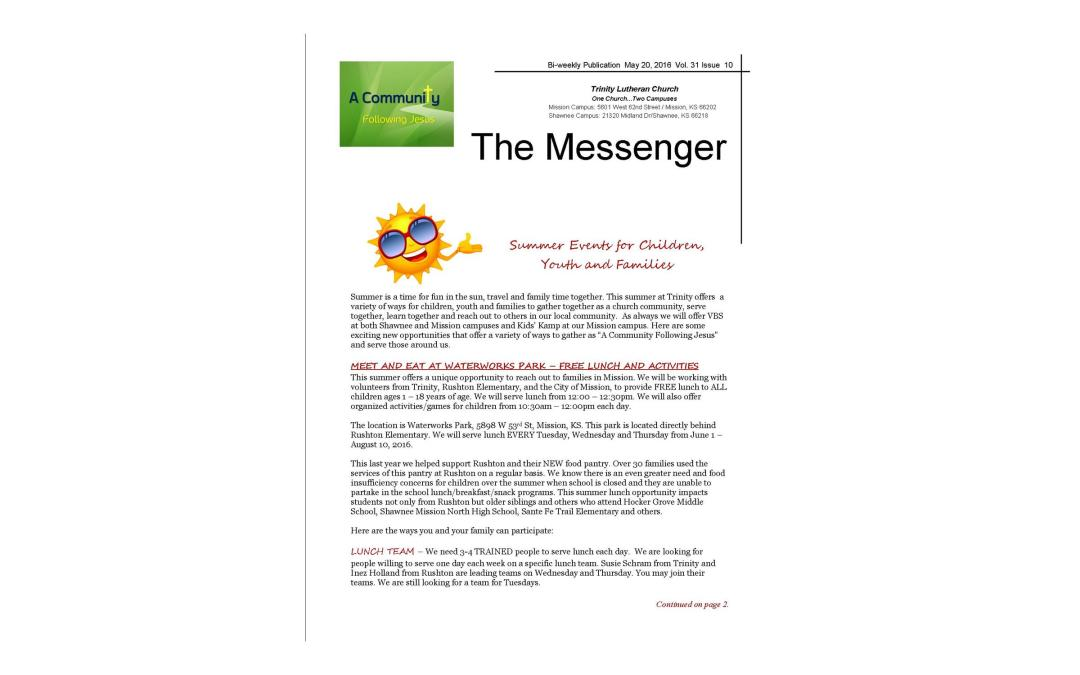 May 20, 2016, Messenger Newsletter