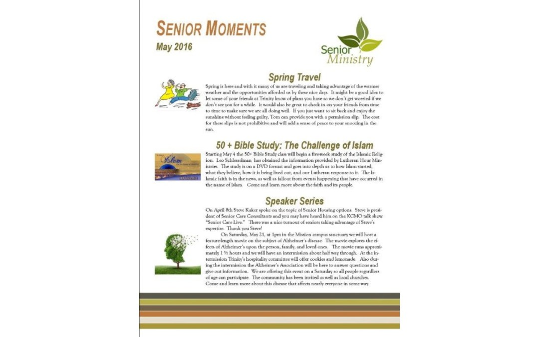 Senior Moments – May 2016
