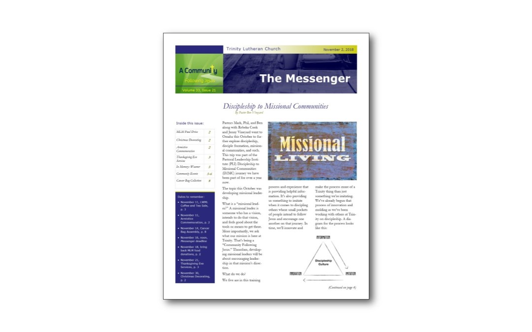 November 2 Trinity Messenger