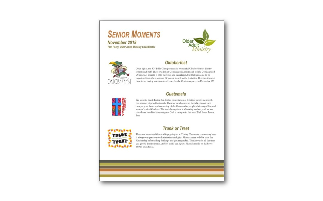 November Senior Moments Newsletter