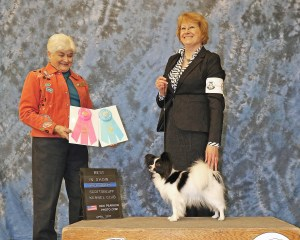 Dr. Teets with her dog Prada. ' Best in Show' photo.
