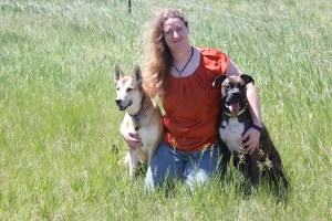 Aubrey with her dogs Mab and boxer Gaston