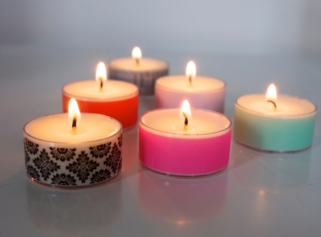 Washi Tape Tealight candles from The Tealight Co