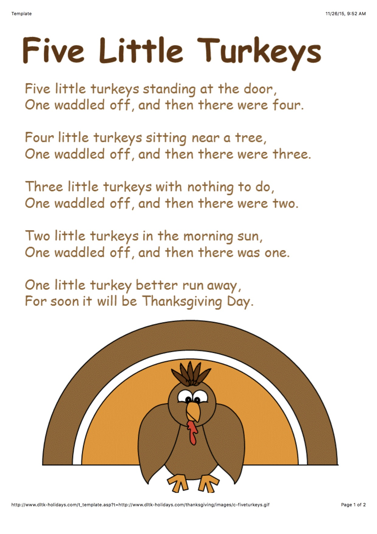 Counting Turkey S Abc S And Colors In Pre School
