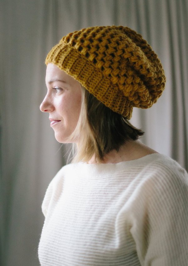 Bubble Wrap Slouch by TL Yarn Crafts slouchy puff stitch beanie hat pattern