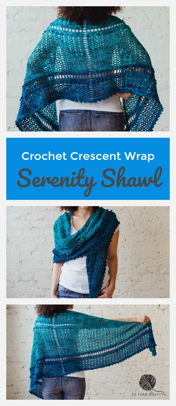 Serenity Shawl, a textured crochet crescent pattern from TL Yarn Crafts