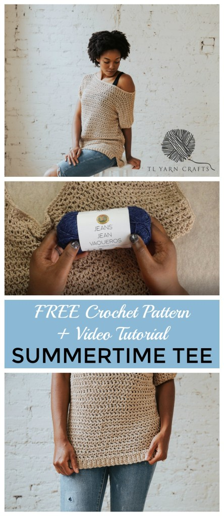 Make the Summertime Tee today, a FREE crochet pattern available from TLYCBlog. Beginner friendly and available in sizes S-2XL, this breezy casual top will be your go-to layering piece well after summer has gone. Includes written and video instructions!
