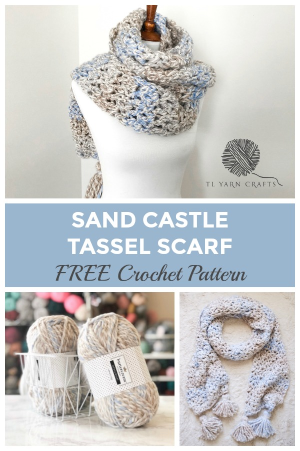 Make the Sand Castle Tassel Scarf today, a FREE crochet pattern available from TLYCBlog. This beginner friendly crochet scarf pattern is quick and easy, using extra bulky yarn and a Q hook. It makes for the perfect holiday gift or add it to your craft market booth!