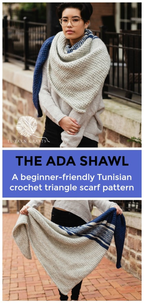 Try the new Ada Shawl, a beginner friendly Tunisian crochet asymmetrical triangle scarf. It's to easy and fun, you'll get addicted to this pattern and be done in no time. Pattern includes links to free Tunisian crochet instructional videos to help with the tricky parts. Sample made with We Are Knitters The Petite Wool. Substitute your favorite aran or bulky weight yarn to make this lovely triangle wrap. | TLYCBlog.com #tunisiancrochet #crochetpattern