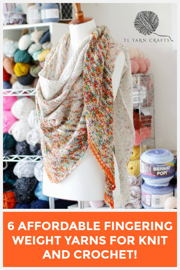 Want to make a lovely knit or crochet pattern with fingering weight yarn but don't want to spend your whole paycheck. You're in luck! I've rounded up 6 of my favorite yarns that come with the feel of luxury at value prices. Find them all on TLYCBlog.com | #crochetpattern #fingeringweightyarn #crochetshawl #knitshawl