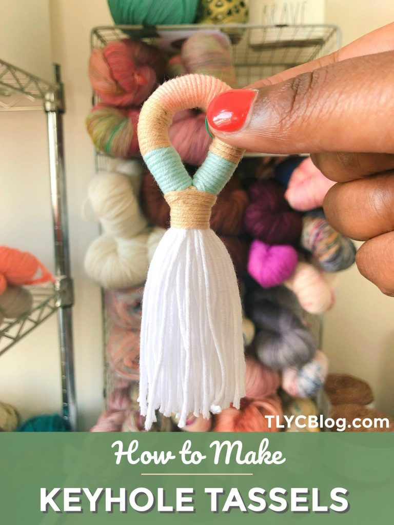 Try this quick and fun tutorial for yarn wrapped tassels, also called keyhole tassels. Grab some leftover yarn scraps from your stash and make these fun hanging tassels to adorn your keychain or handbag, add to a friendship bracelet, or even make into earrings! | TLYCBlog.com