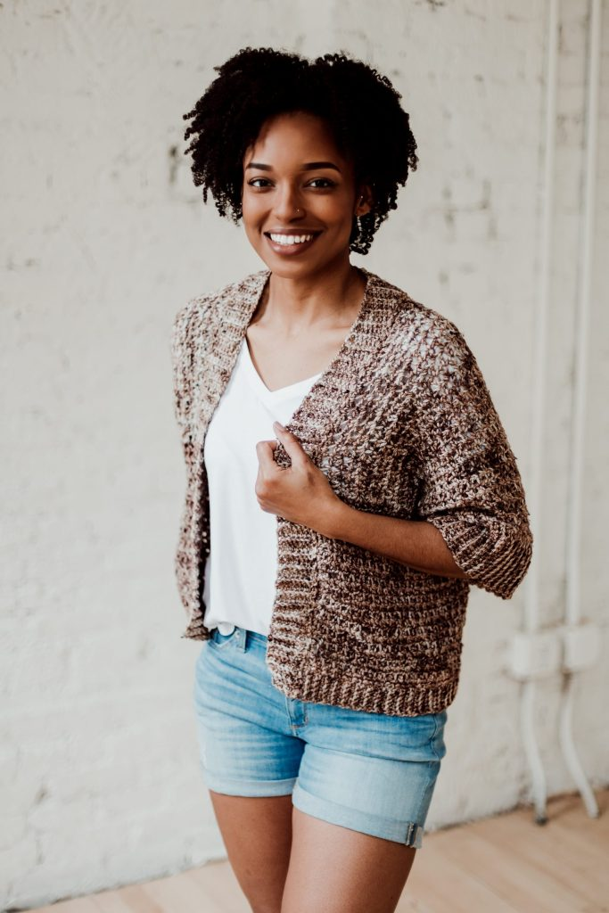 French Press Cardi | Try new skills as you make the crochet French Press Cardi, a casual open-front sweater pattern with small mesh and ample ribbing. A perfect choice for your first crochet sweater project. | TLYCBlog.com