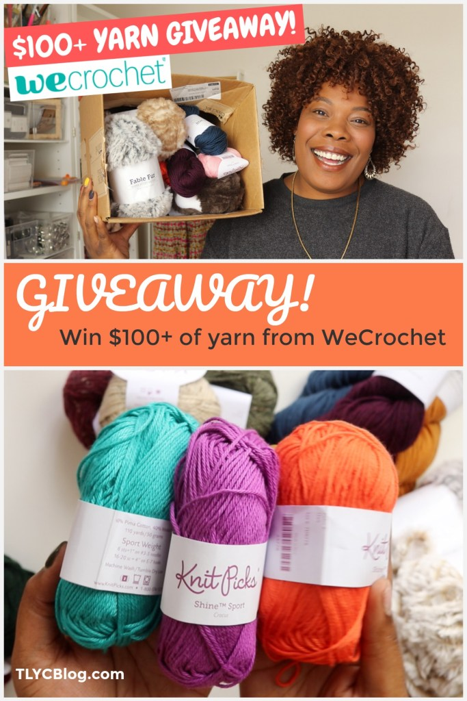 Win over $100 worth of luxurious yarn in this giveaway with TLYCBlog & WeCrochet. Try out fingering, sport, DK, worsted, and super bulky yarns from this crochet-centric website. It's a new place online, just for crocheters like us! If you love to crochet, then enter my giveaway and check our WeCrochet at crochet.com | TLYCBlog.com