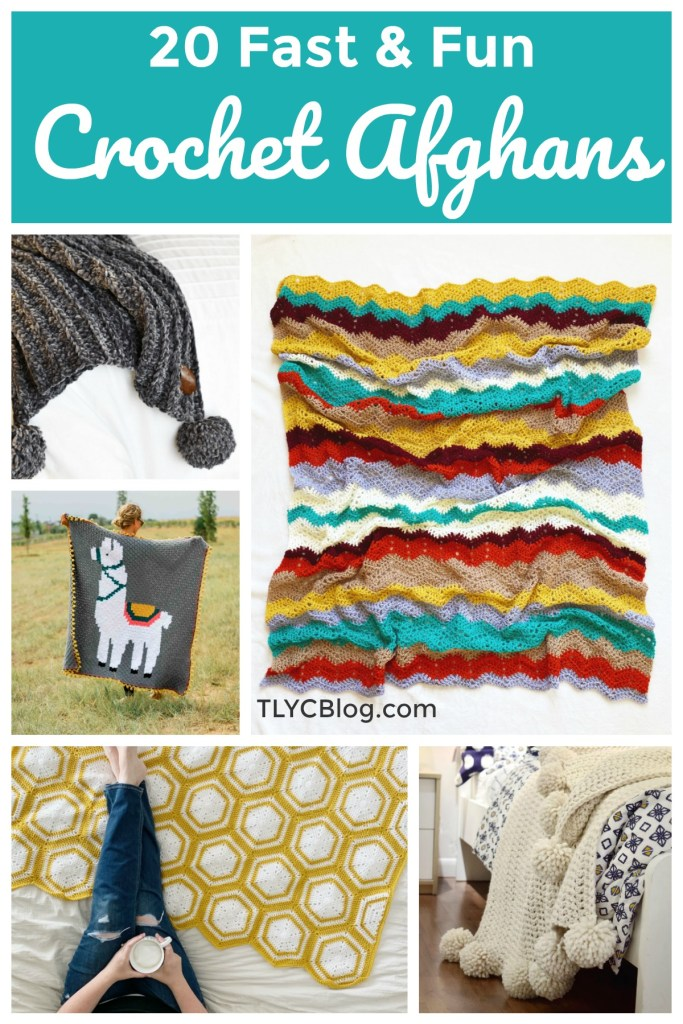 20 Unique Crochet Blankets for Beginners - Whip up these quick, fast, and fun crochet blankets using their free patterns or get the yarn kit from Lion Brand. Round-up features chunky, lightweight, chevron, corner to corner, C2C, pom pom, colorful, one color, yarn cake, modular, granny square, and modern styles. You'll find the perfect afghan to start this weekend! |TLYCBlog.com