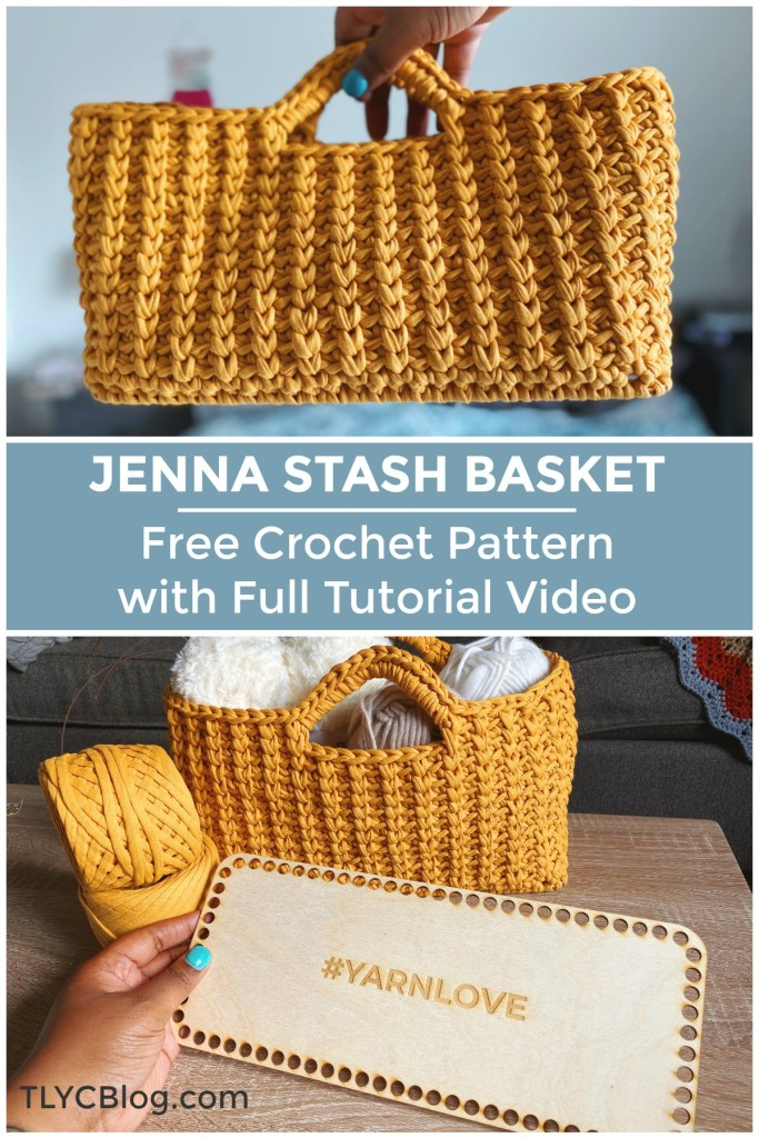 Jenna Stash Basket | FREE Crochet pattern, crochet stash basket made on a wooden base laser cut #YARNLOVE, easy pattern for beginners, video tutorial large rectangular sturdy crochet basket t-shirt yarn with handles. |TLYCBlog.com