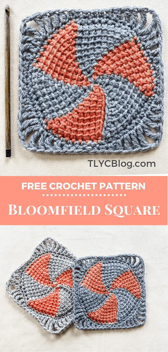 Bloomfield Square | Make this fun and easy Tunisian crochet granny square with just a bit of yarn. Crochet a center circle using short rows then add a simple border. Crochet several for a blanket or afghan, scarf, or pillow. Get the free crochet pattern now. | TLYCBlog.com