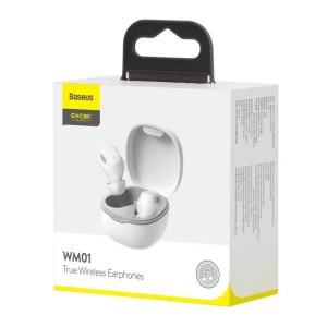 Bezprzewodowe słuchawki Baseus Encok WM01, Bluetooth 5.0 BIAŁE