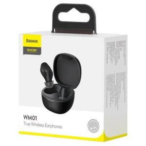 Bezprzewodowe słuchawki Baseus Encok WM01, Bluetooth 5.0 CZARNE