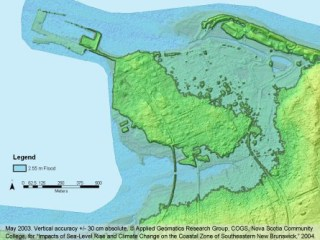LIDAR Color Shaded Image of Pointe du chene New Brunswick with modeled January 2000 Flood maps layered ontop