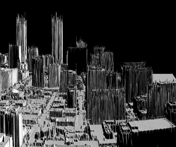 3D perspective view with LIDAR all hits point data of downtown Toronto