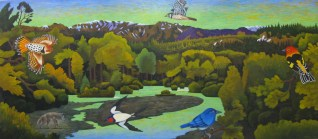 "Billy Hassell (b. 1956). ""Rio Blanco at Dusk,"" 2012. Oil on canvas, 36 x 80 in. Courtesy of Conduit Gallery, Dallas, Texas"