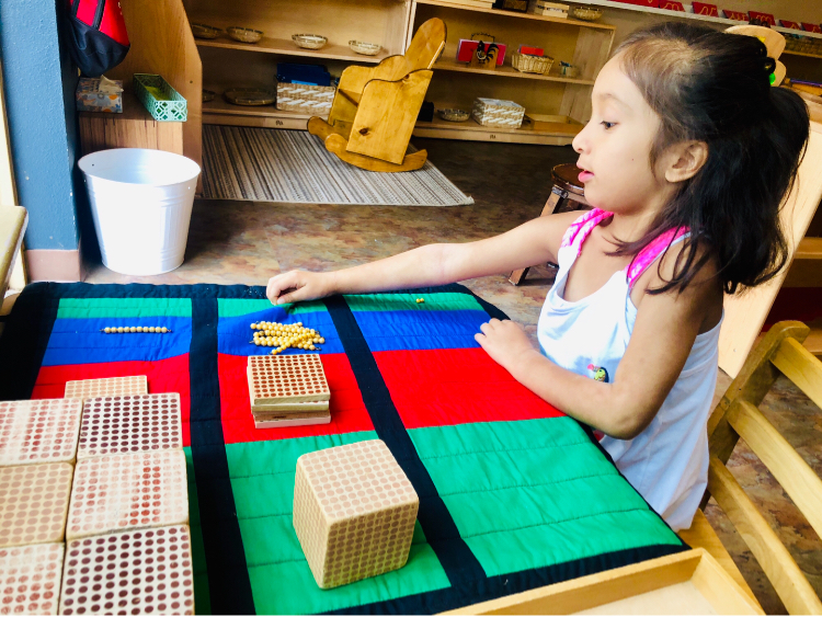 Early Childhood Bank Game, The Montessori Academy of Arlington, Private School Arlington TX