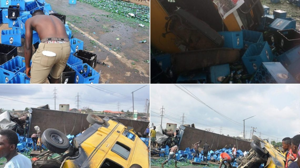 Two Dead, Many Injured As Trailer Conveying Drinks Collides With Bus At Iyana-Ipaja, Lagos (Graphic Photos/Videos)