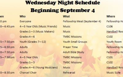 Wednesday Night Schedule