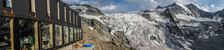 Panorama of Moiry Glacier and the cabane.