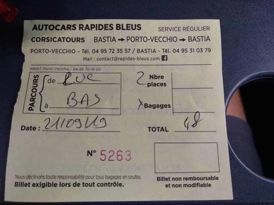 Bus ticket for Sainte Lucie de Porto Vecchio to Bastia