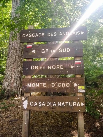 Trail sign showing the GR20 Nord and GR20 Sud