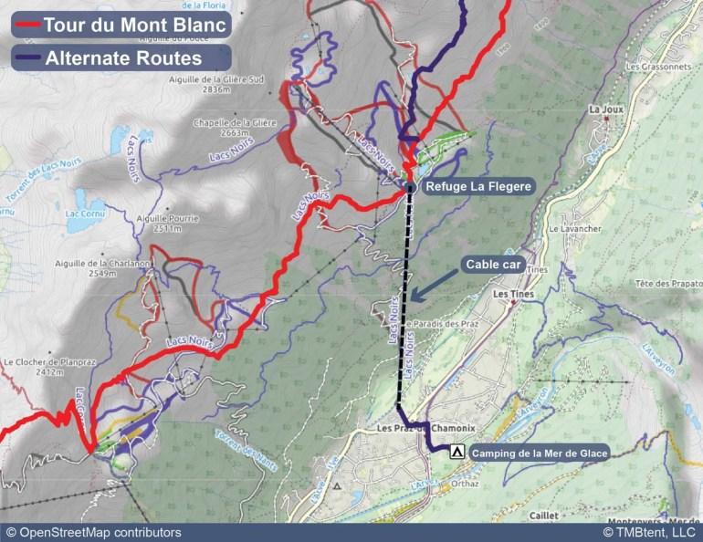 Map of camping near La Flegere.