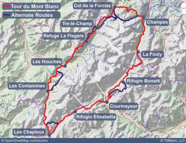 Tour du Mont Blanc Map with alternate routes shown.