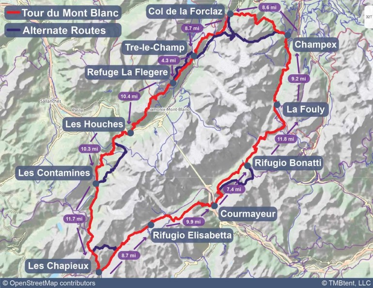 Map of the Tour du Mont Blanc with stage distances in miles.