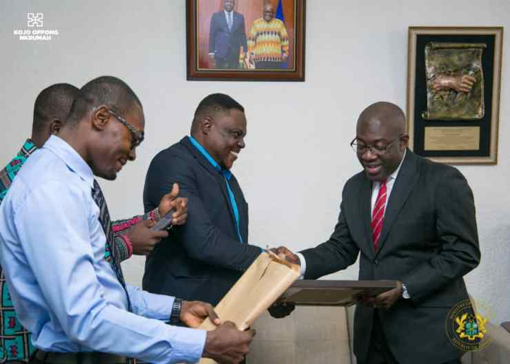 The Minister for Information, Kojo Oppong Nkrumah and leaders of Digital Corp group