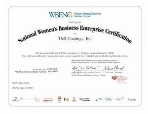 TMI Coatings Re-certified As A Women's Business Enterprise